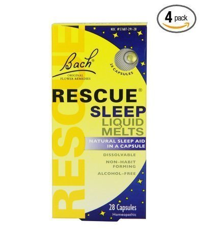 Bach Rescue Sleep Liquid Melts, Dissolvable Capsules 28 ea ( Pack of 4 )