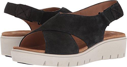 Clarks Sandals Nubuck (CLARKS Womens Un Karely Hail Wedge Sandal, Black Nubuck, 8.5 B(M) US)