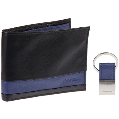 Calvin Klein Striped Leather Billfold Wallet & Key Fob Gift Set (Black)