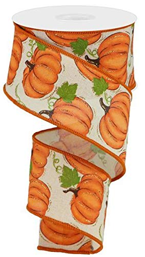 Pumpkin Patch Wired Edge Ribbon, 10 Yards (Cream, -