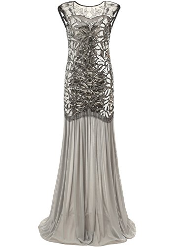 [Bbonlinedress 1920s Beaded Sequins Gatsby Flapper Dresses Long Vintage Cocktail Prom Gowns Silver] (Gatsby Dress Cheap)