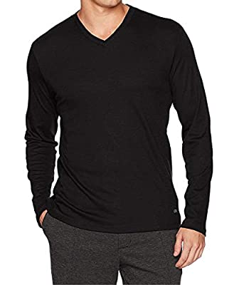 Calvin Klein Men's Long Sleeve Ribbed V-Neck T-Shirt,