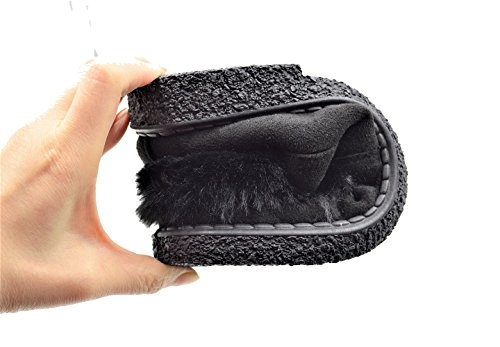 Golden Road Namaakbont Gevoerde Suède Warme Schoenen Voor Dames # 8105 Zwart