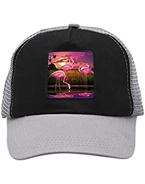 Unisex Pink Flamingos at Sunset Trucker Hat Adjustable Mesh Cap