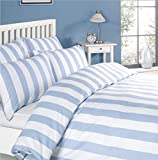Louisiana Bedding Vertical Blue & White Stripe Striped Duvet Cover Set 100% Cotton 200 Thread Count - Double