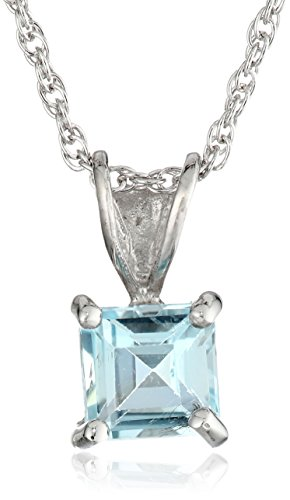 Sterling Silver Square shape-Cut Blue Topaz Pendant Necklace Gemstone Sterling Silver Square Pendant