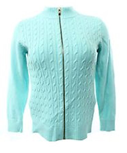 Charter Club Women Cable Knit Zip Front Cardigan Plus Size 0x Mint Bowl