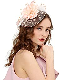 7ea969a2430fd Fascinators Hats for Womens 50s Headwear with Veil Flower Cocktail Wedding  Tea Party Church Derby Hat