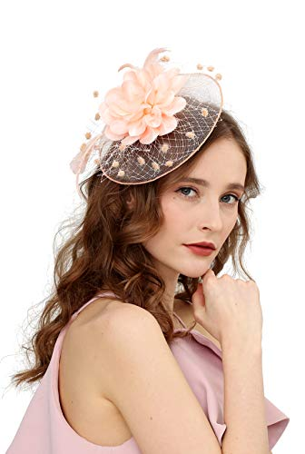 Fascinators Hats for Womens 50s Headwear with Veil Flower Cocktail Wedding Tea Party Church Derby Hat(1A-peach)