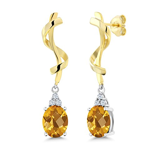 2.82 Ct Oval Checkerboard Yellow Citrine 925 Sterling Silver - Citrine Earrings Checkerboard