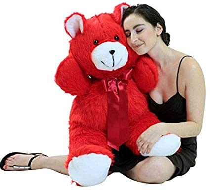 537a3acc1b5 Image Unavailable. Image not available for. Color  Big Plush Jumbo 3 Foot  Red Teddy Bear 36 Inch Soft Cuddle Buddy Made in USA