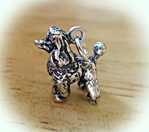 3D Solid Sterling Silver 14x14x6mm 4 Gram Toy Poodle Dog with Pom Poms Charm Vintage Crafting Pendant Jewelry Making Supplies - DIY for Necklace Bracelet Accessories by CharmingSS