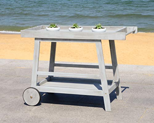 Safavieh PAT7032B Collection Renzo Grey Wash Indoor/Outdoor Bar Cart