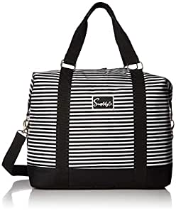 Travel Weekender Overnight Carry-on Shoulder Duffel Tote Bag (8 x 12 x 16 (Large) Black & White Stripes)
