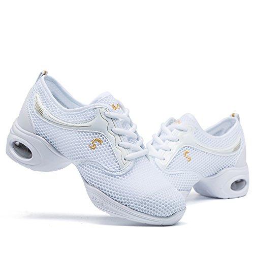 Mesh White Womens VILOCY Jazz Shoes Ballroom Sneaker Dance Breathable Soft wSzdqEz