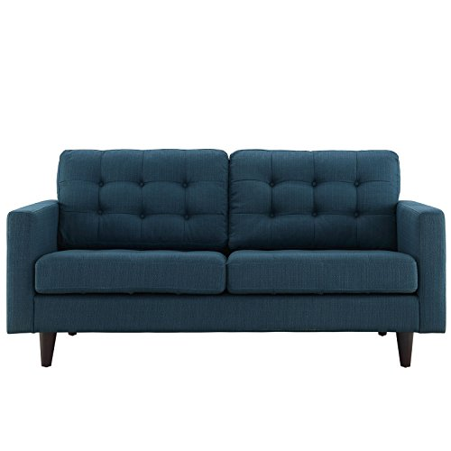 Modway Empress Upholstered Loveseat in Azure