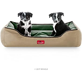 Amazon.com : Brindle Waterproof Bolster Dog Bed with Reversible ...
