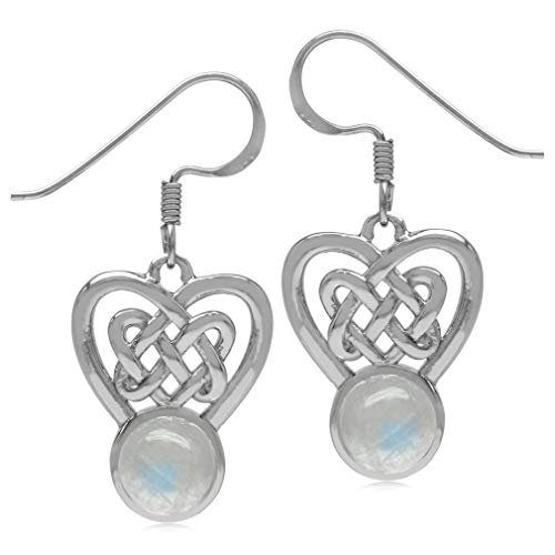 (Silvershake 7mm Natural Round Shape Moonstone 925 Sterling Silver Celtic Heart Knot Dangle Hook Earrings)