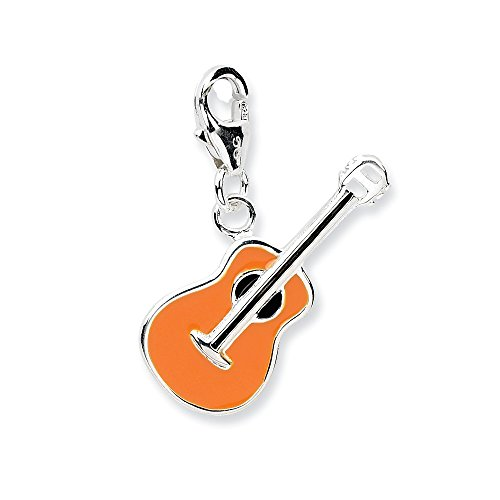 (925 Sterling Silver Rh 3 D Enameled Guitar Lobster Clasp Pendant Charm Necklace Musical Fine Jewelry Gifts For Women For Her)