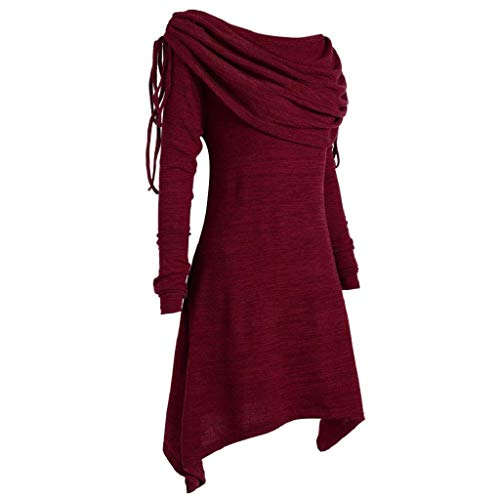 Grande Primavera Talla Otoño Superior Collar Suelta Mujeres Sólido Cuello Con Larga Shobdw Blusa Redondo Túnica Pliegues Camisetas Manga Casual Largo De Moda Rojo Sudadera Foldover 5qvxRwzE