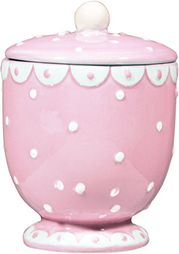 Home Essentials & Beyond Dotted Ceramic Swiss Covered Sugar Jar Dish Pot Bowl Pink For Sugar, Teabags, Nuts, Condiments, Mints, Pepper, Spice, For Home And Kitchen, Hotel, Cafe, Buffet, (Pink Covered Dish)