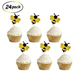Glitter Bumble Bee Cupcake Toppers for Bumble Bee Gender Reveal Baby Shower Birthday Party Decor 24 Counts