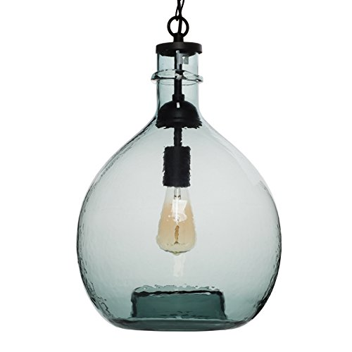 Multi Pendants Island Light (CASAMOTION Wavy Hammered Hand Blown Glass Pendant Light, 1 hanging Light, 13'' diameter, Gray Blue)
