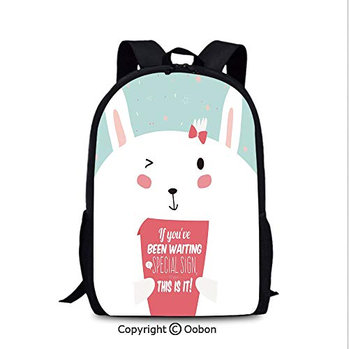 Durable Waterproof Backpack, Bunny with Card Written If You Have Been Waiting, School Bag :Suitable for Men and Women, School, Travel, Daily use, etc.Pink White ()