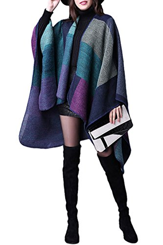 Pink Queen Women's Winter Fringed Cashmere Knitted Poncho Capes Purple,Purple-1,One Size