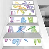 Stair Stickers Wall Stickers,6 PCS Self-adhesive,Dragonfly,Colorful Watercolor Winged Bugs Children Kids Nursery Spring Themed Artsy Picture Decorative,Multicolor,Stair Riser Decal for Living Room, Ha
