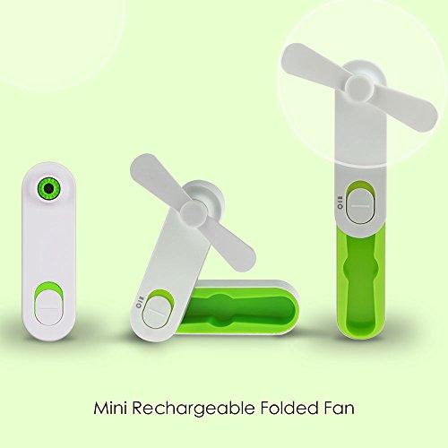 LingsFire Handheld Fan Mini USB Portable Fan Rechargeable Personal Fan Desktop Fan Outdoor Fan for Home and Travel - USB Powered , 2 Speeds Pocket Fan (Green)
