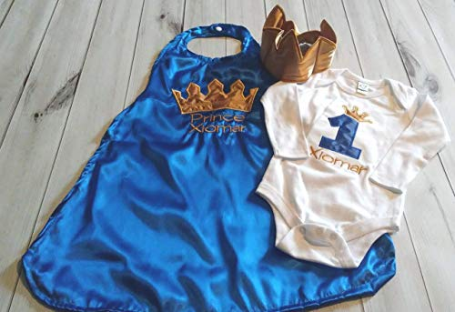 (3 piece 1st 2nd Birthday baby boy birthday set outfit Smash cake photo prop prince king royal blue gold crown onesie cape Crown Hat 6 months to 24 months)
