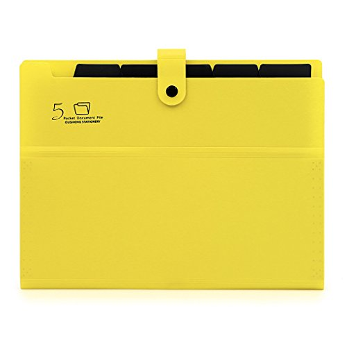 BTSKY Expanding File Folders-- A4 and Letter Size Archival File Organizer Document Holder, 5 Pockets (Deep Yellow)
