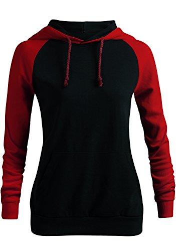 bf51399933a4 CLOVERY Women s Casual Hoodie Two-Tone Raglan Pocket Long Sleeve Hoodie -  Buy Online in UAE.