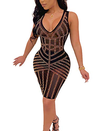 - Sexy Sequin Cocktail Dress See Through Sheer V Neck Midi Bodycon Dress Gold XL
