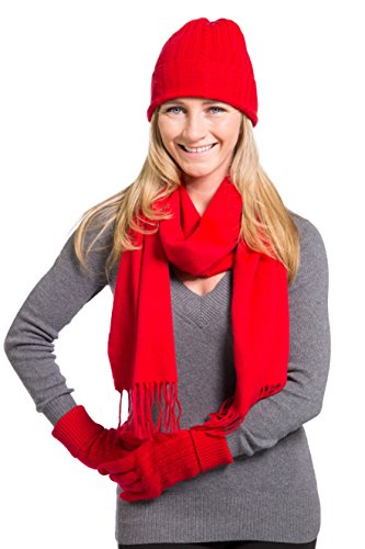 Fishers Finery Women's 100% Cashmere 3pc Winter Set; Beautiful Gift Box (Red) by Fishers Finery