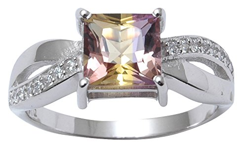 Banithani 925 Sterling Silver Charming Ametrine Gemstone Ring Band Women Fashion Jewelry