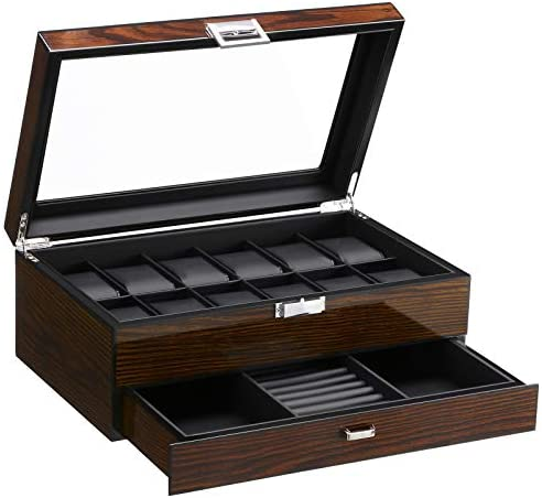 BEWISHOME 12 Watch Box with Valet Drawer, Luxury Watch Case,Watch Organizer for Mens Accessories with Real Glass Top,Metal Hinge, Brown SSH02Y