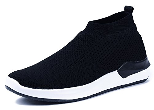 AgeeMi Shoes Men Slip On Trainers Breathable Mesh Outdoor Walking Running Shoes Black(EuN05)