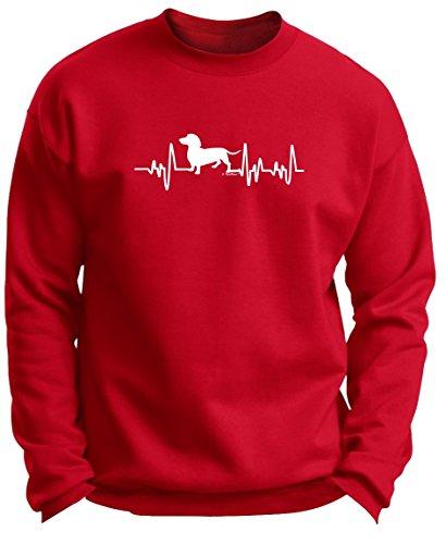 Dachshund Lover Gifts Dachshund Gifts Dog Lover Heartbeat Weiner Dog Premium Crewneck Sweatshirt Small DpRed