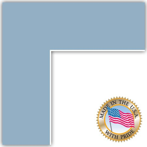 7x10 French Blue Custom Mat for Picture Frame with 3x6 opening -