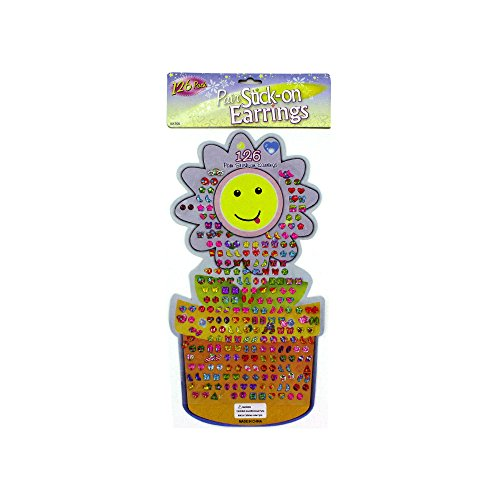 (Kole Imports KK700 Large Stick-On Earrings Set, Assorted Bright Styles, Pack of 126 Pairs of Stick-on Earrings)