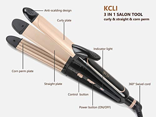 (KCLI 3 in 1 Hair Styler Curling Iron&Flat Iron&Corn Perm Plate for All Types of Hair,Hair Straightener&Curler,Dual Voltage)