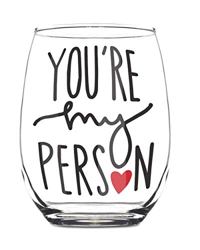 You're My Person 15oz Stemless Wine Glass – BFF Gifts – Gift For Best Friend Woman – Bestfriend Gifts for Her – Best…