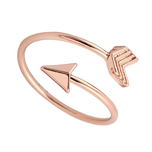 JJTZX Adjustable Sideways Arrow Ring Celebrity Style Double Wrap Layering Stackable Knuckle Ring Wedding Gift (Rose gold)