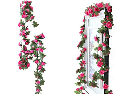 Lannu 2 Pack Artificial Rose Vine Flowers Fake Garland Ivy Flowers Silk Hanging Garland Plants for Home Wedding Party Decorations (Rose red) (Flower Arrangment Silk)