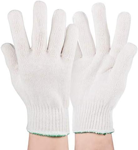 労働保護作業用手袋 労働保険の手袋耐摩耗性の厚い通気性のある薄いセクション処理手袋、10ペア (Color : White, Size : L-20 pair-400g)