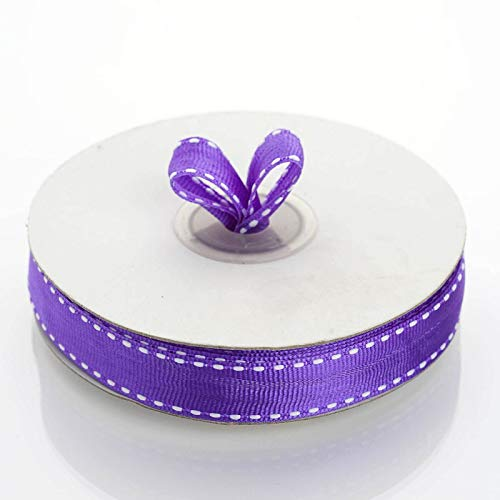 """Tableclothsfactory 5/8"""" Grosgrain Ribbon with Stitched Edges-Purple"""