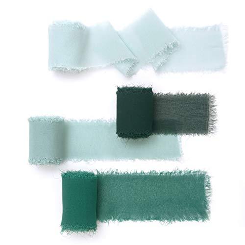 Ling's moment Handmade Chiffon Silk Ribbon Verona Green Sample Swatch Chart