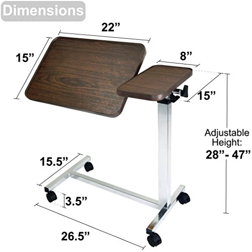 Medical Adjustable Overbed Bedside Table with Wheels, Tilt Table for Hospital and Home Use